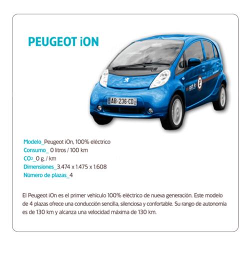 Vehículo 100% eléctrico Peugeot iON de la flota de Cochele