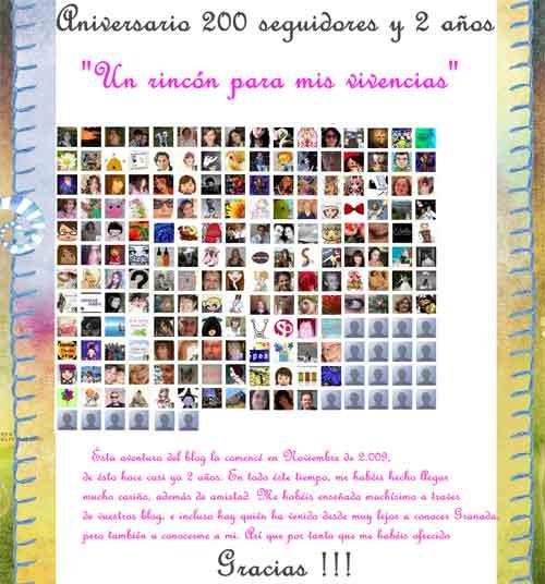 Montse celebra un sorteo entre los 200 seguidores de su blog Un rincón para mis vivencias