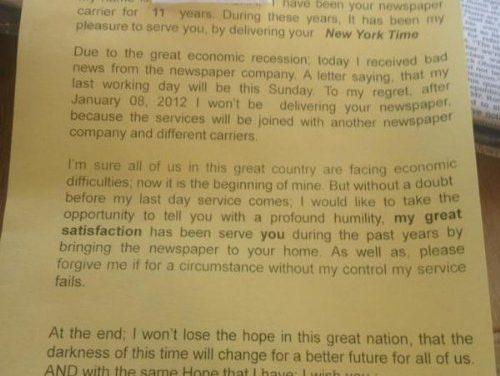 La última carta de un repartidor de periódicos