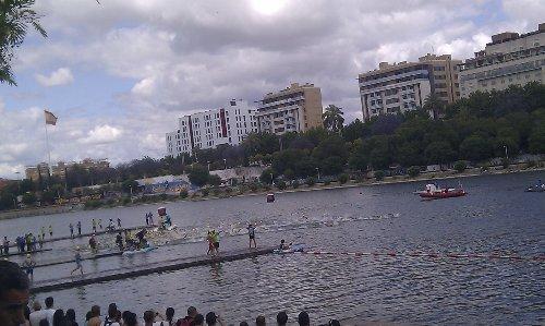 Triatlon Sevilla 2012 - Triatletas de la modalidad olímpica iniciando la natación