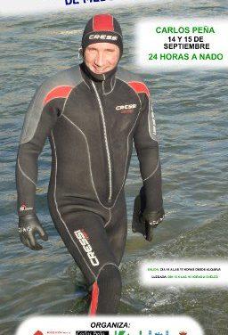 El nadador Carlos Peña nada 25 horas seguidas por un fin solidario