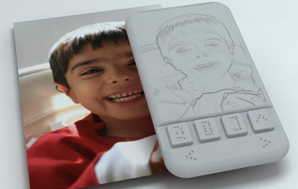 Ejemplo de lo que el teléfono para ciegos diseñado por Sumit Dagar interpretaría