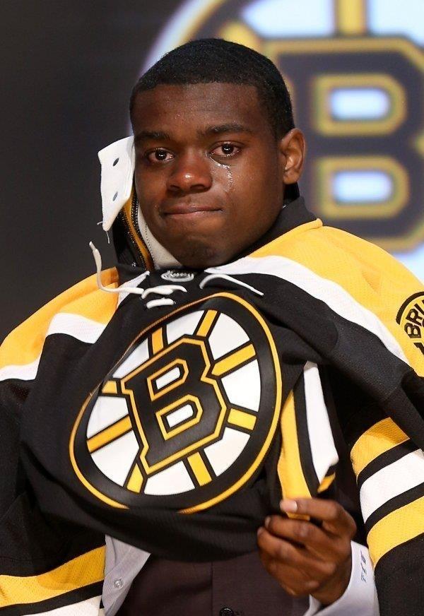 La cara de Malcolm Subban tras ser reclutado por los Bruins el año pasado (2012)