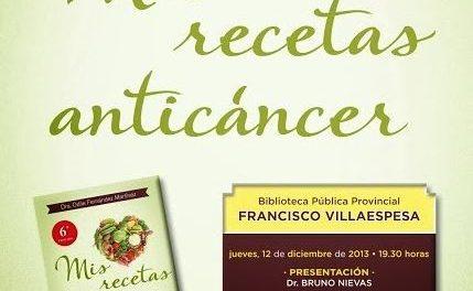 Conferencia-Presentación Mis Recetas Anticancer en Almeria y Granada 12 y 13 Diciembre