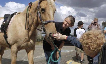 Una mujer de 90 años cumple su sueño de montar a caballo por primera vez en su vida
