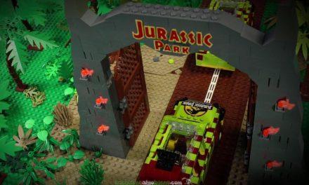 Un padre y su hija recrean la película de Parque Jurásico utilizando piezas de Lego