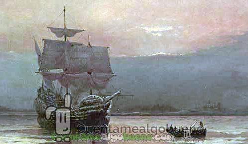 """""""Mayflower en el Puerto de Plymouth"""" por William Halsall, 1882. Foto: Wikipedia."""