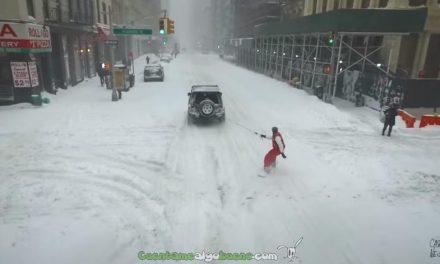 Haciendo snowboard por las calles de Nueva York