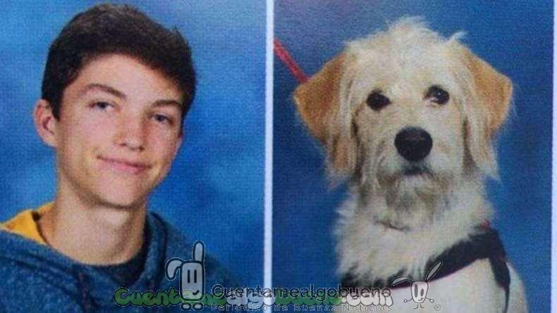 Harry y su perro Taffy posan para el anuario escolar