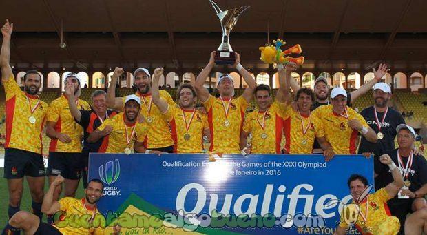 Los Leones celebrando la victoria que les lleva a los JJOO de Río. Foto: FERugby.