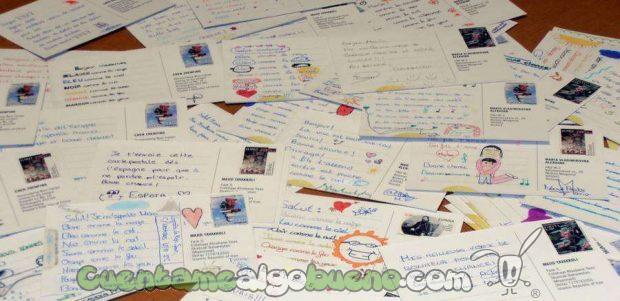 Postales de la acción 'Regala tus palabras' recogidas en centros escolares Postales de la acción 'Regala tus palabras' en centros escolares- Foto: Amnistía Internacional.