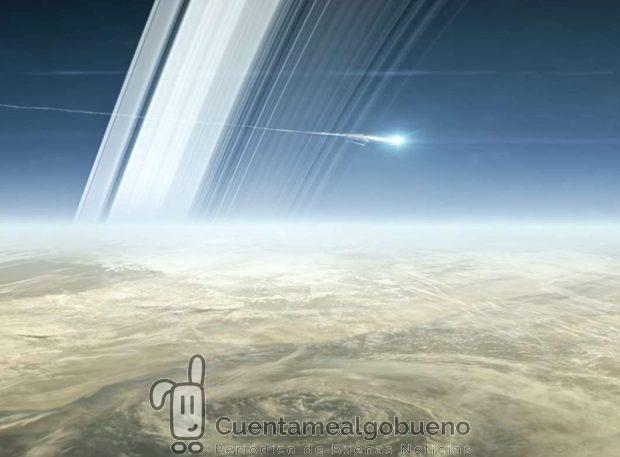 """""""Grand Finale"""" de la sonda Cassini. Tras dar 22 vueltas alrededor del planeta por el interior de sus anillos, se desintegrará al adentrarse a atmósfera. Foto: NASA Jet Propulsion Laboratory."""