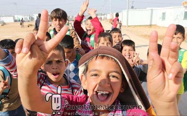 Niños en el campamento de Zataari en Jordania. Foto ONU. Fotografíad e Sahem Rababah