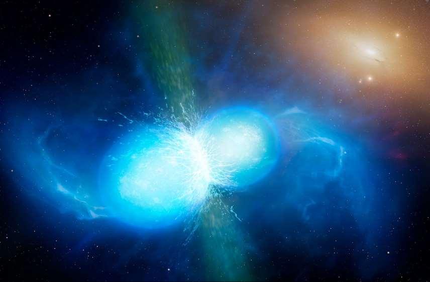 Ilustración de una fusión de estrellas de neutrones. Foto: ESO.