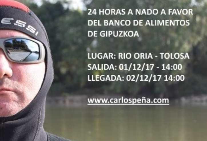 Carlos Peña nadará durante 24 horas a favor del Banco de Alimentos de Guipúzcoa