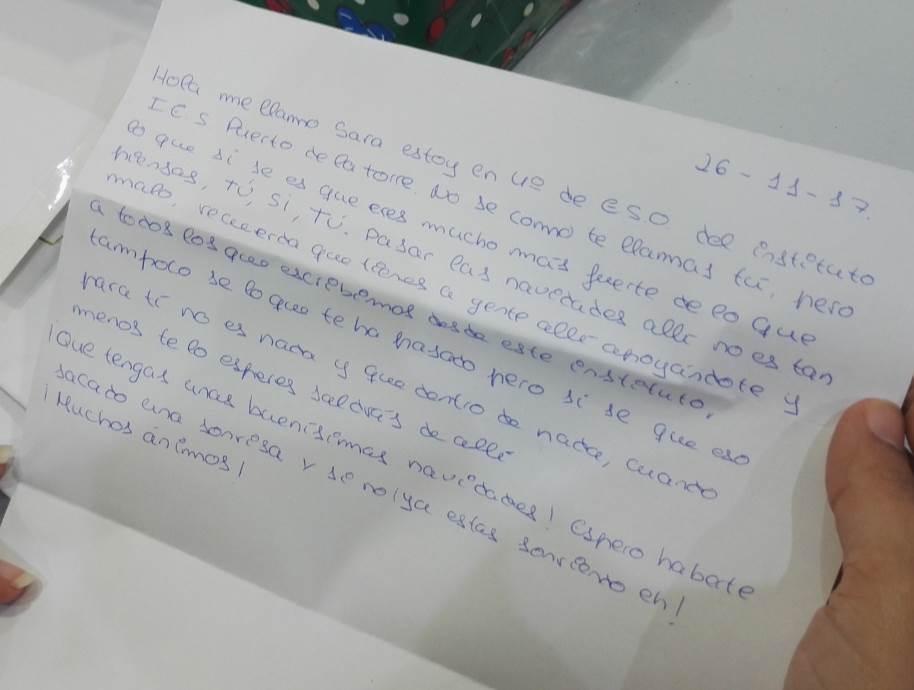 Carta escrita por Sara, alumna de 4º de la ESO del IES Puerto de la Torre