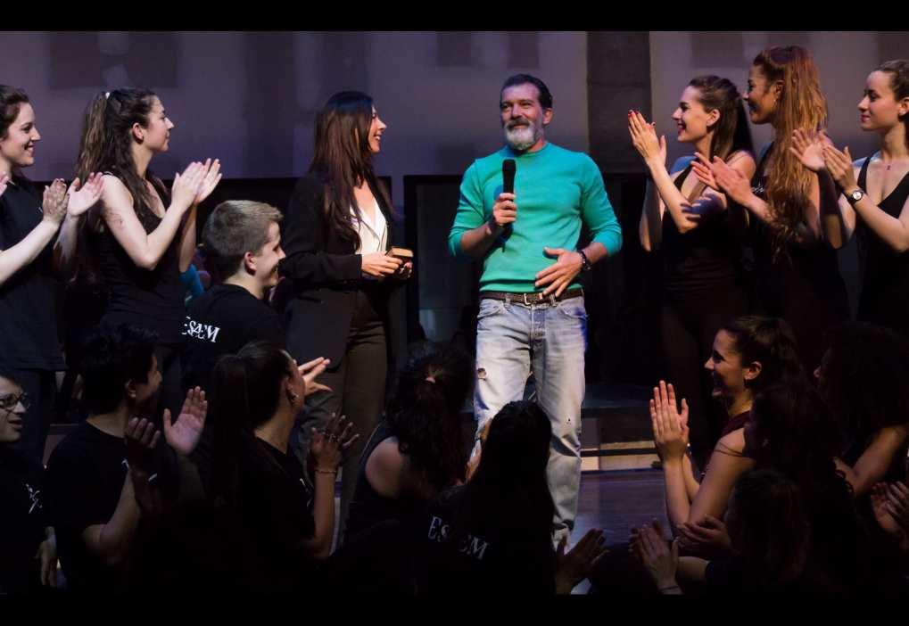Antonio Banderas durante la inauguración del Teatro de Jóvenes Artistas que lleva su nombre en ESAEM