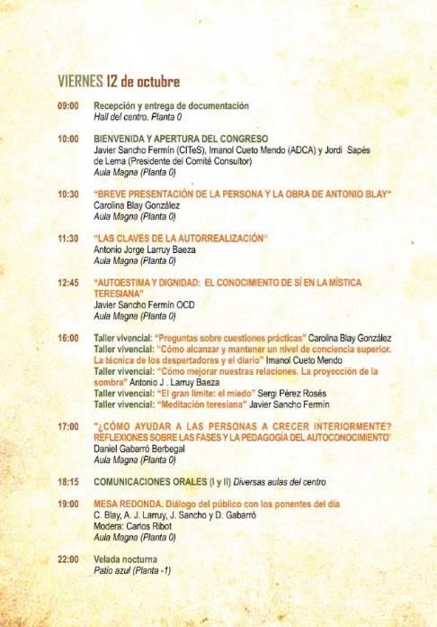 Congreso Antonio Blay: programa para el viernes 12 de octubre de 2018