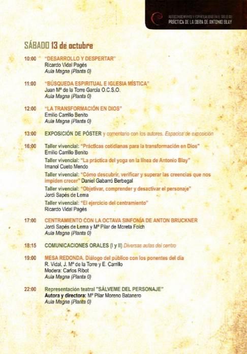 Congreso Antonio Blay: programa para el sábado 13 de octubre de 2018