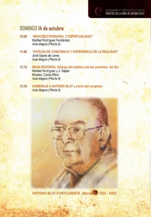 Congreso Antonio Blay: programa para el domingo 14 de octubre de 2018