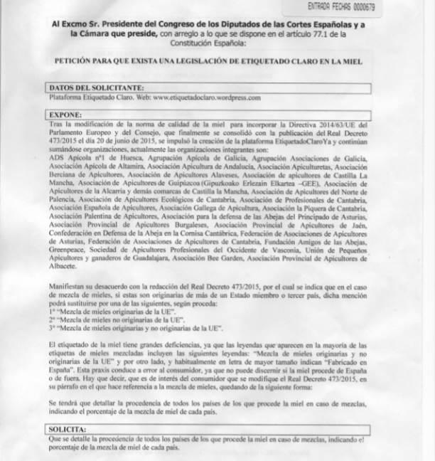 Texto íntegro de la petición presentada en el Congreso por la Plataforma Etiquetado Claro
