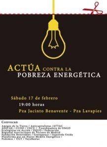 El sábado 17 de febrero a las 19 h en la plaza Jacinto Benavente de Madrid comenzará la manifestación-pasacalles contra la pobreza energética