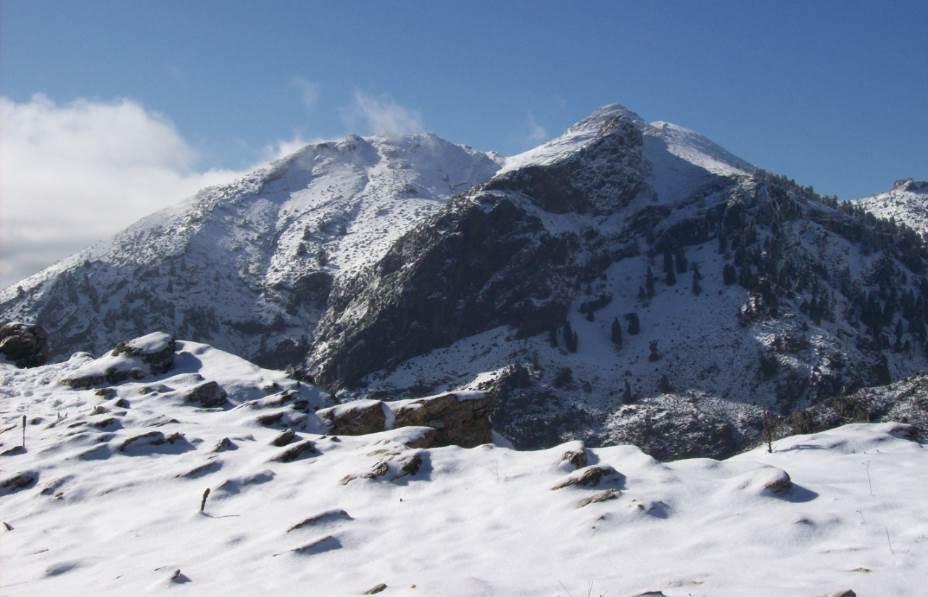 Vista del Pico Torrecilla nevado desde el Tajo de la Caína. Foto: Wikimedia Commons