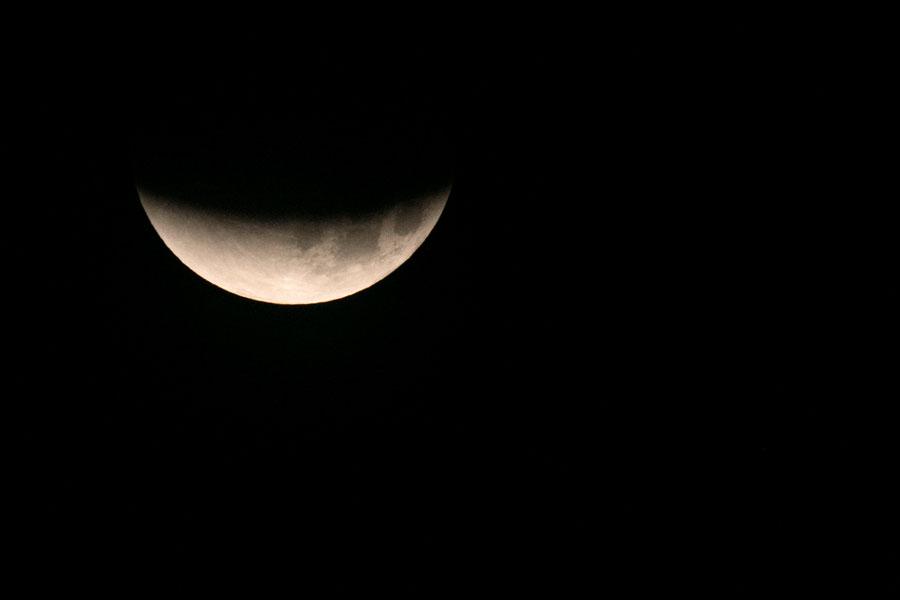 Eclipse de luna del 31 de enero visto desde la Pirámide B en la zona arqueológica de Tula (México) Foto cortesía de Culturacdmx