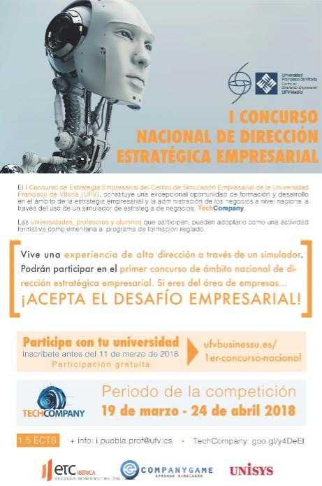 Cartel del Mañana I Concurso Nacional de Dirección Estratégica Empresarial, organizado por la Universidad Francisco de Vitoria (UFV)