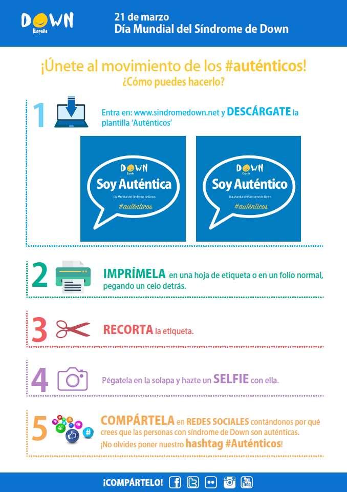 La infografía de Down España explica cómo utilizar las pegatinas de #Auténticos
