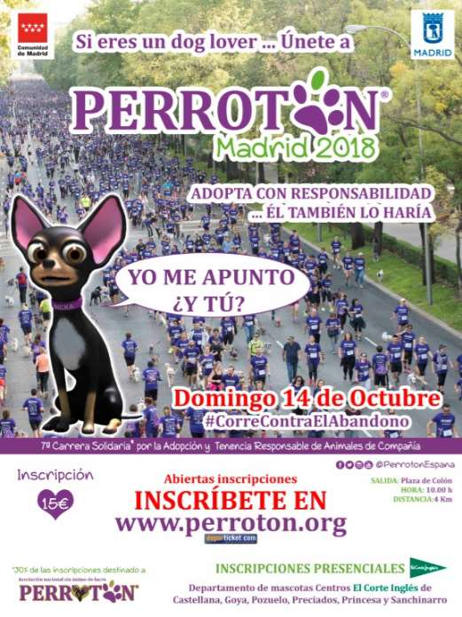 Cartel de la carrera Perrotón Madrid 2018