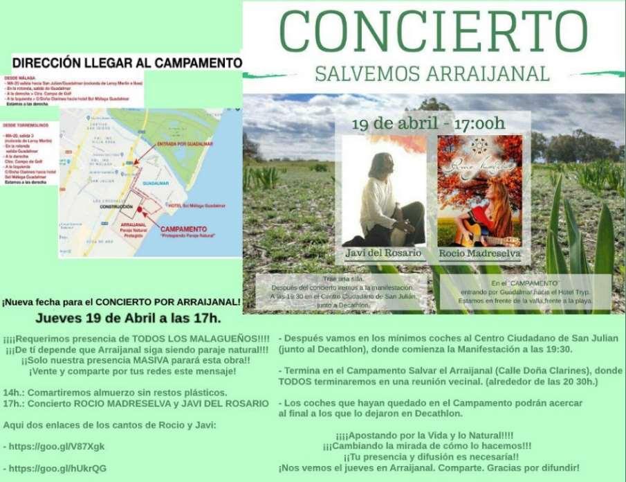Cartel de convocatoria del concierto Salvemos Arraijanal