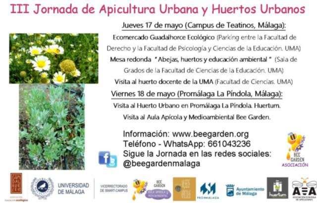 Cartel con la convocatoria a la Jornada de Apicultura Urbana y Huertos Urbanos Bee Garden