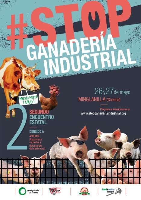 Cartel del II Encuentro contra la ganadería industrial en Minglanilla, Cuenca