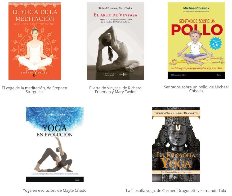 Pack de libros sobre el Yoga que la Editorial Kairós obsequiará al ganador o ganadora del IV Certamen Internacional de Fotografías sobre Yoga y Meditación