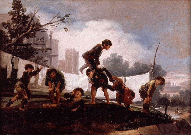"""El cuadro de juego de niños """"El Balancín"""", representa la infancia del S. XIX, a la que la Fundación se propuso en aquél entonces proteger"""