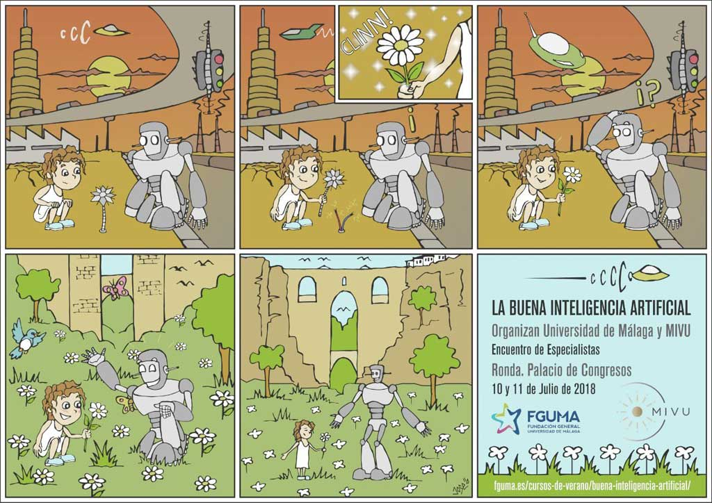 Comic sobre La Buena Inteligencia Artificial, por MiVU