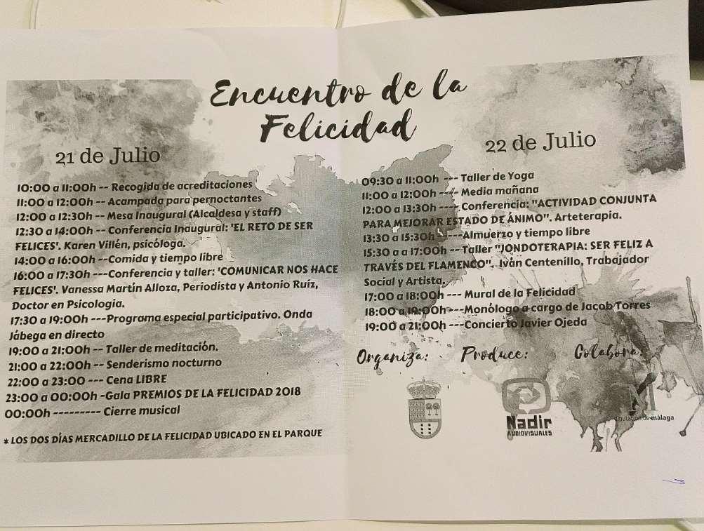 Programa del I Encuentro de la Felicidad en Villanueva de Tapia