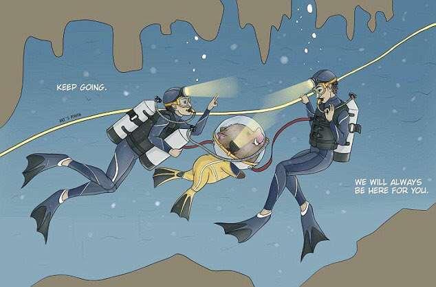 Caricatura que muestra cómo los buzos salvaron a los niños