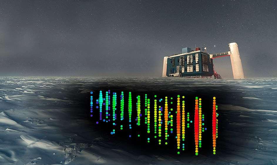 Representación del evento de neutrinos IC170922 en IceCube, donde se detectó una de estas partículas muy energéticas. / IceCube Collaboration. Foto: NSF