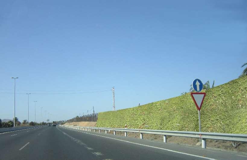 Las nuevas pantallas acústicas vegetales instaladas en una autovía de Las Palmas de Gran Canaria. Foto: UPM