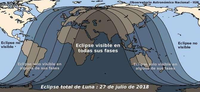 El eclipse lunar total del 27 de julio se observará en todas sus fases en el océano Índico y las zonas continentales de alrededor, como África oriental, Oriente próximo y la India. En otras partes de Asia y África, así como en Australia, Oceanía, Sudamérica y Europa solo serán visibles algunas de sus fases