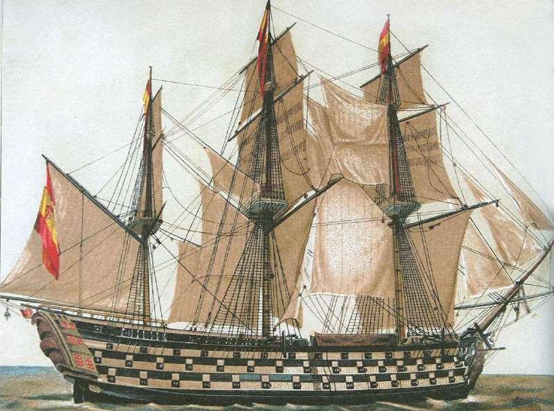 La bandera rojigualda que se expone, perteneció al navío Príncipe de Asturias. Foto: Wikipedia