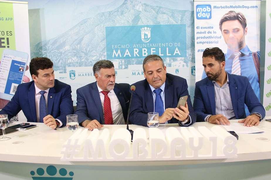 Cristóbal Garre, Baldomero León, Francisco Orellana y David García en la presentación del Marbella Mobile Day 2018