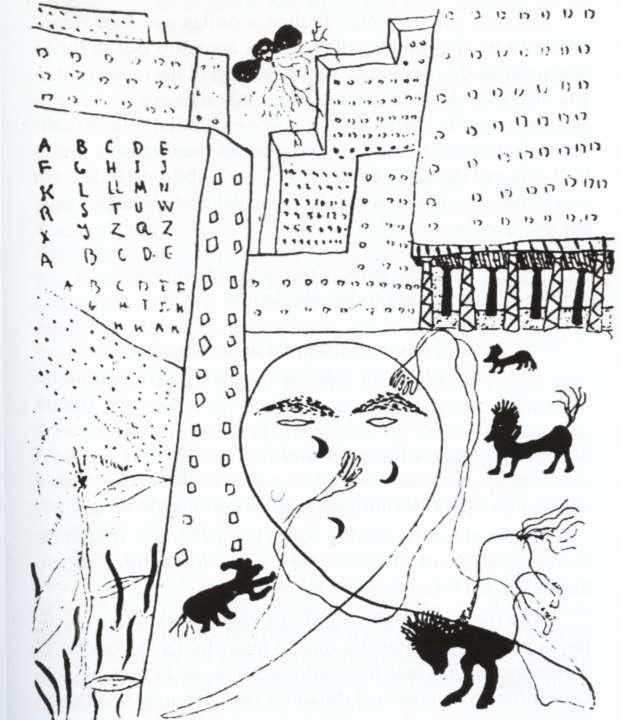 Autorretrato de Federico García Lorca para Poeta en Nueva York, una de las obras pictóricas de Lorca. Fuente: Wikipedia