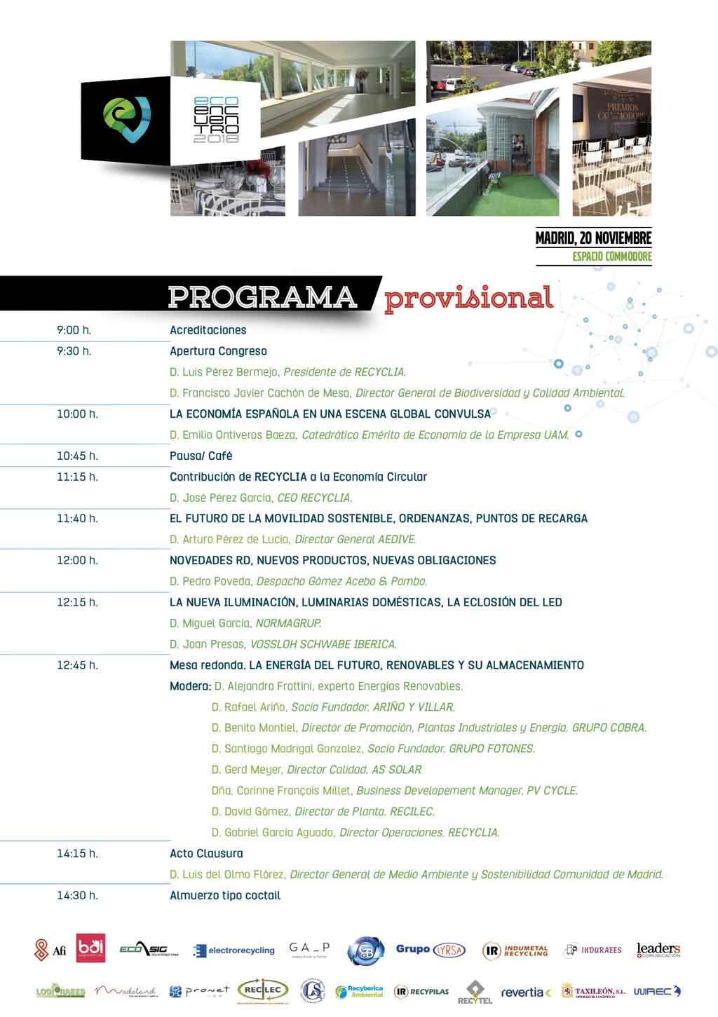 Programa del EcoEncuentro 2018 de Recyclia