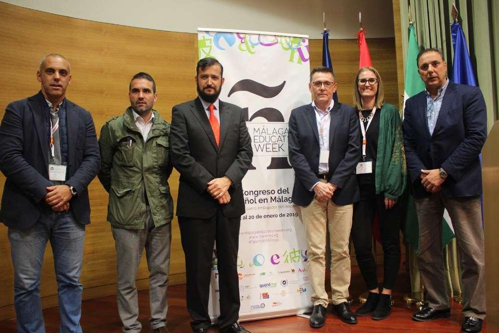 Chema Casero, Jacobo Florido, Antonio Peláez, Julio Morales, Carlota Tylance y Javier Hernández en la inauguración de la II edición de Málaga Education Week