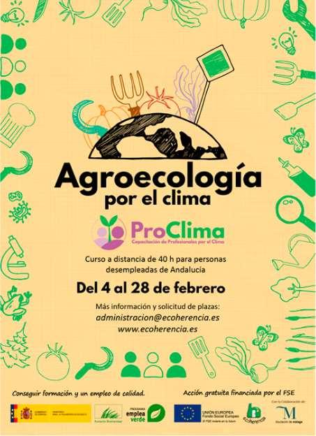 La primera acción formativa de ProClima es un curso a distancia de Agroecología para personas desempleadas de Andalucía, con 40 horas de duración