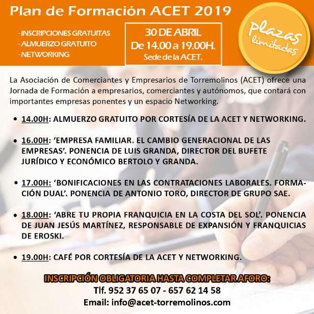 Programa de la jornada de formación empresarial en Torremolinos