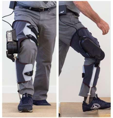 La asistencia a la marcha de este exoesqueleto se centra en la rodilla
